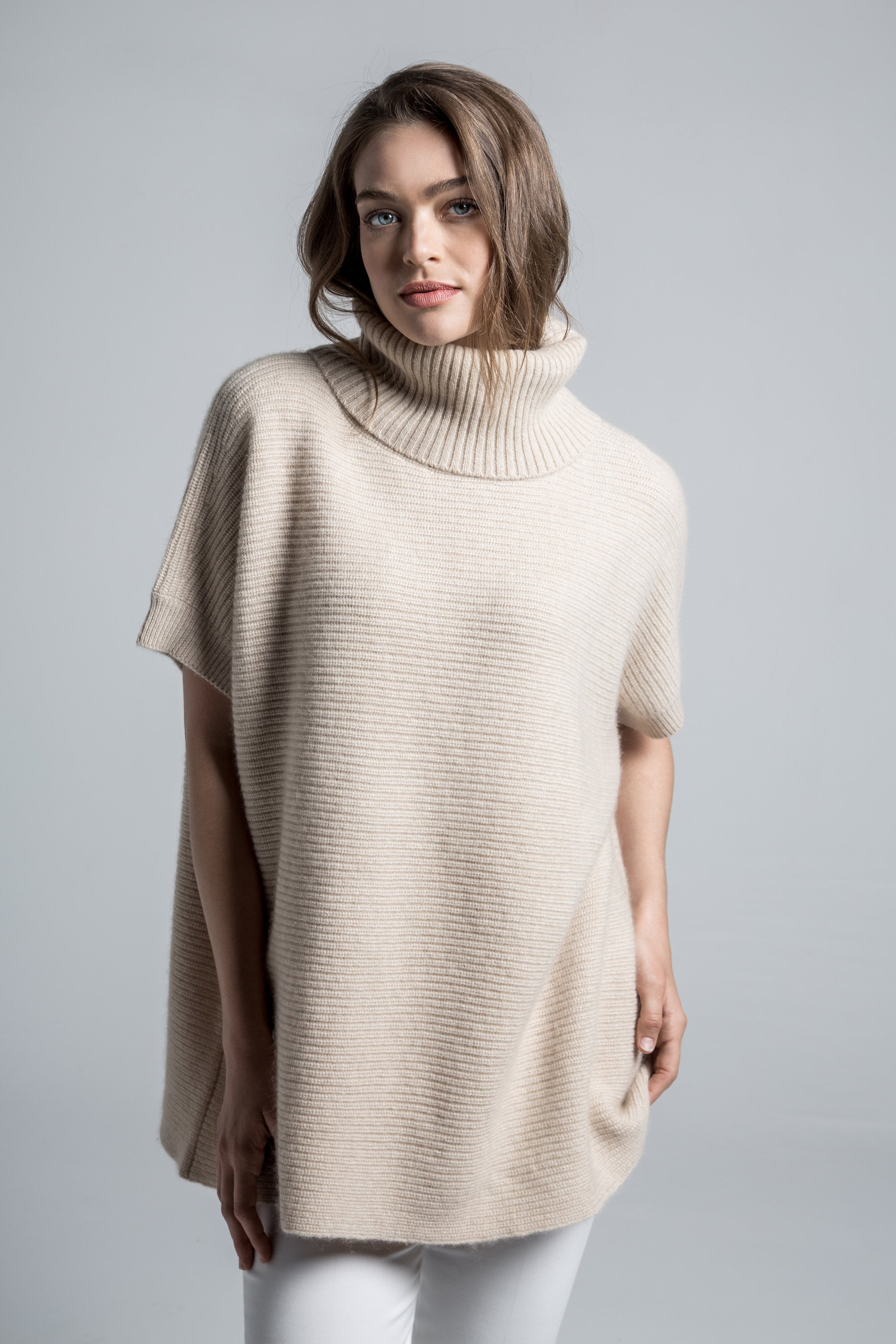 ... women s claire chunky knit oversized 100% pure organic cashmere  turtleneck sweater in tan beige ... 9165668ad