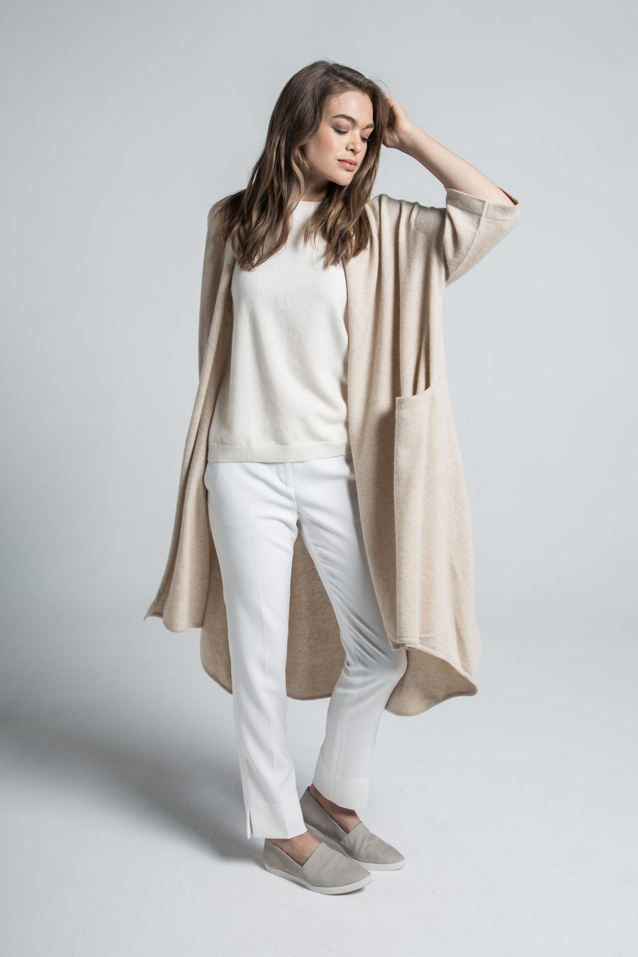 pine cashmere celine women's loose fit 100% pure organic cashmere cardigan coat in tan beige