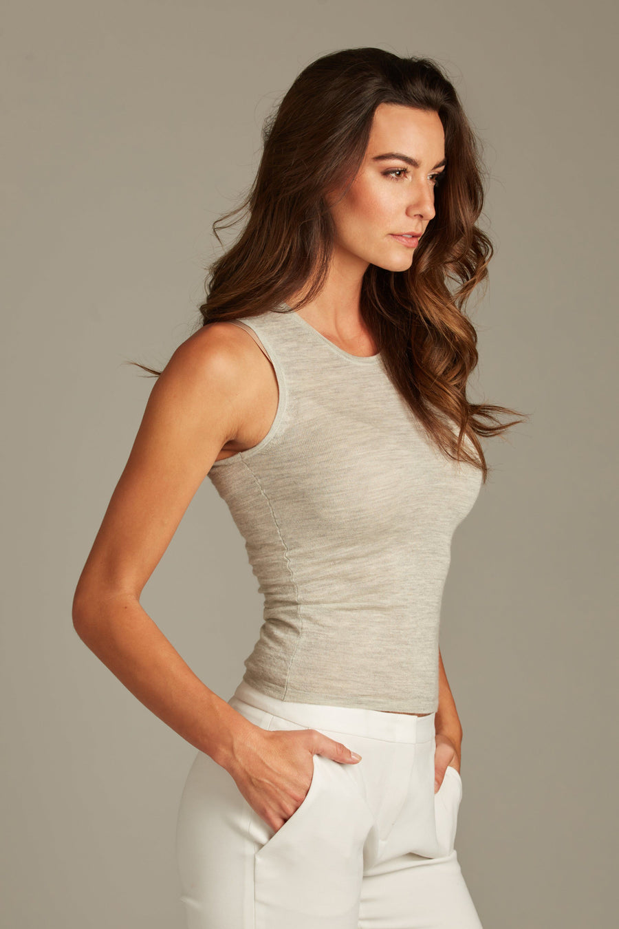 pine cashmere women's 100% pure organic cashmere high neck tank top in grey