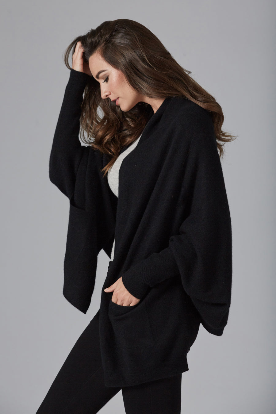 pine cashmere women's audrey multi wear 100% pure cashmere cardigan wrap black color