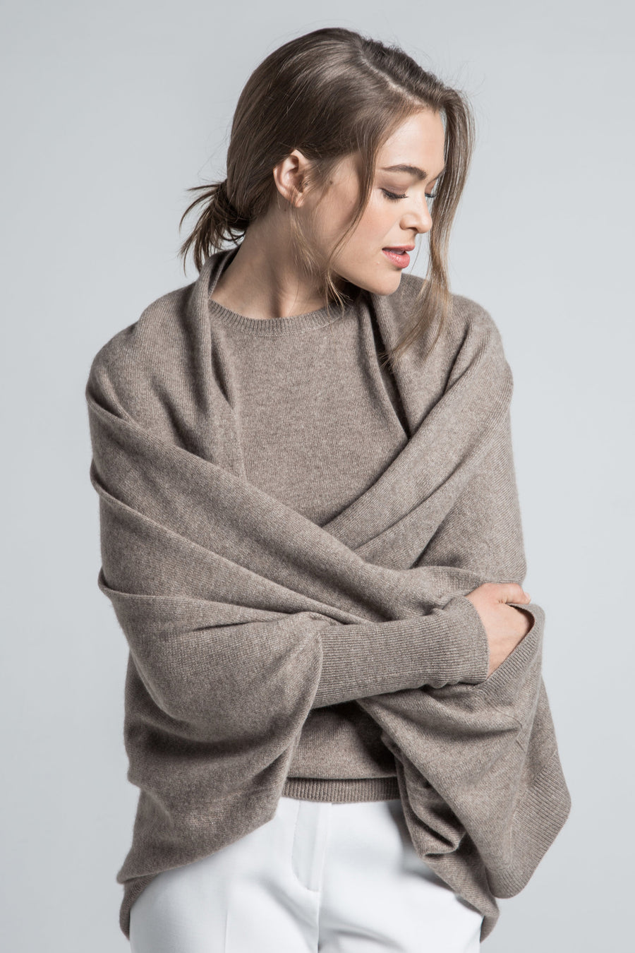 luxury soft and cozy organic brown cashmere multi wear cardigan wrap with sleeve and 2 front pocket