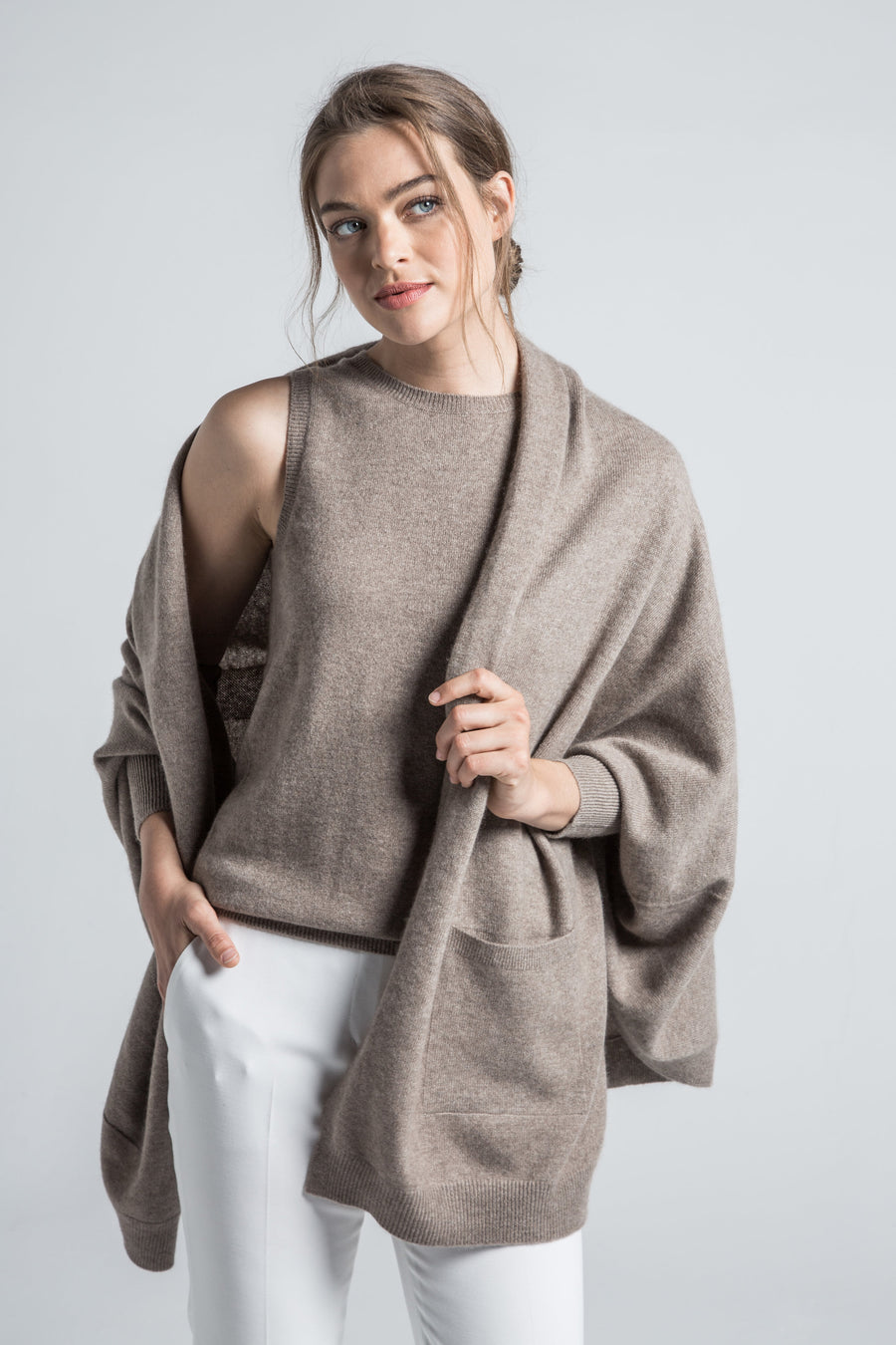 luxury sustainable organic brown cashmere open front multi wear cardigan wrap with 2 front pocket