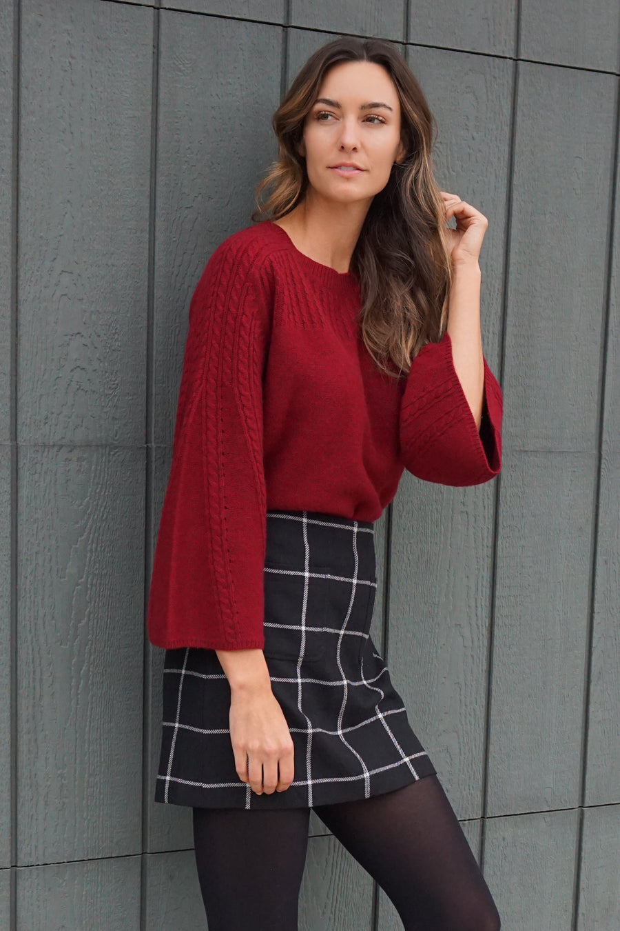 pine cashmere Brianna bell sleeved sweater in crimson Anthropologie cashmere wool blend