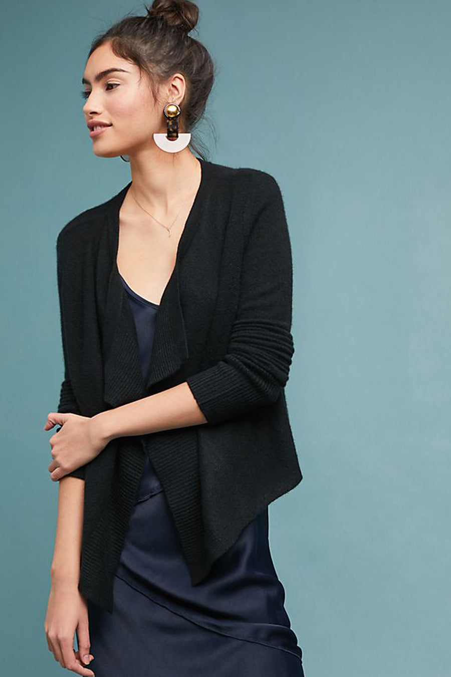 pine cashmere cami women's 100% pure cashmere open draped cardigan in black