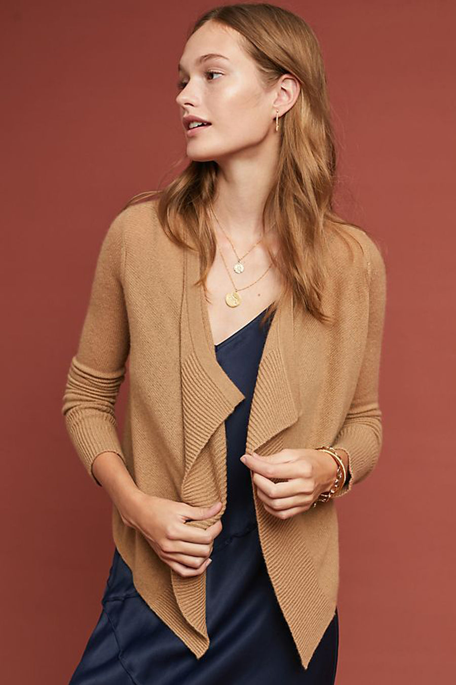 pine cashmere cami women's 100% pure cashmere open draped cardigan in camel
