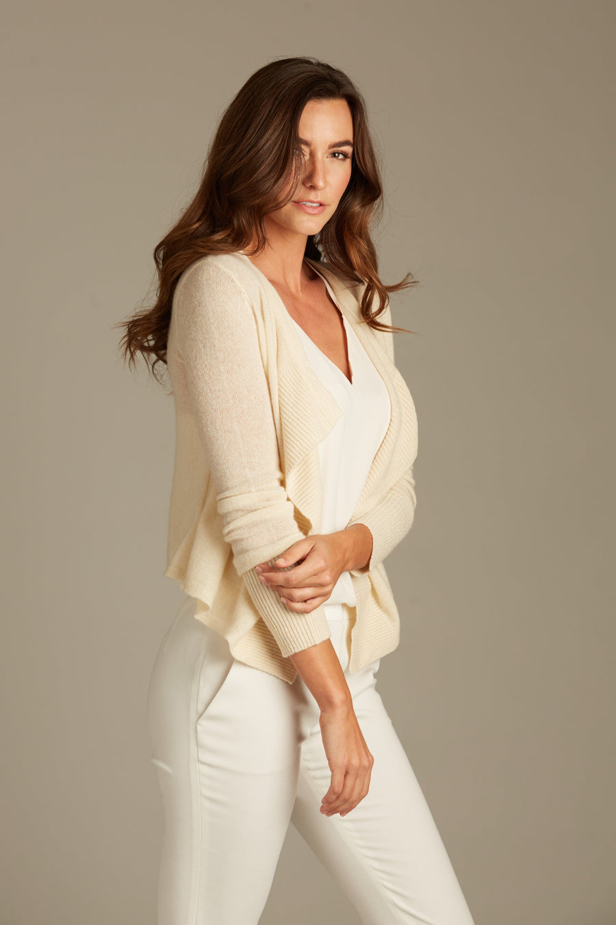 pine cashmere cami women's 100% pure organic cashmere open draped cardigan in cream white