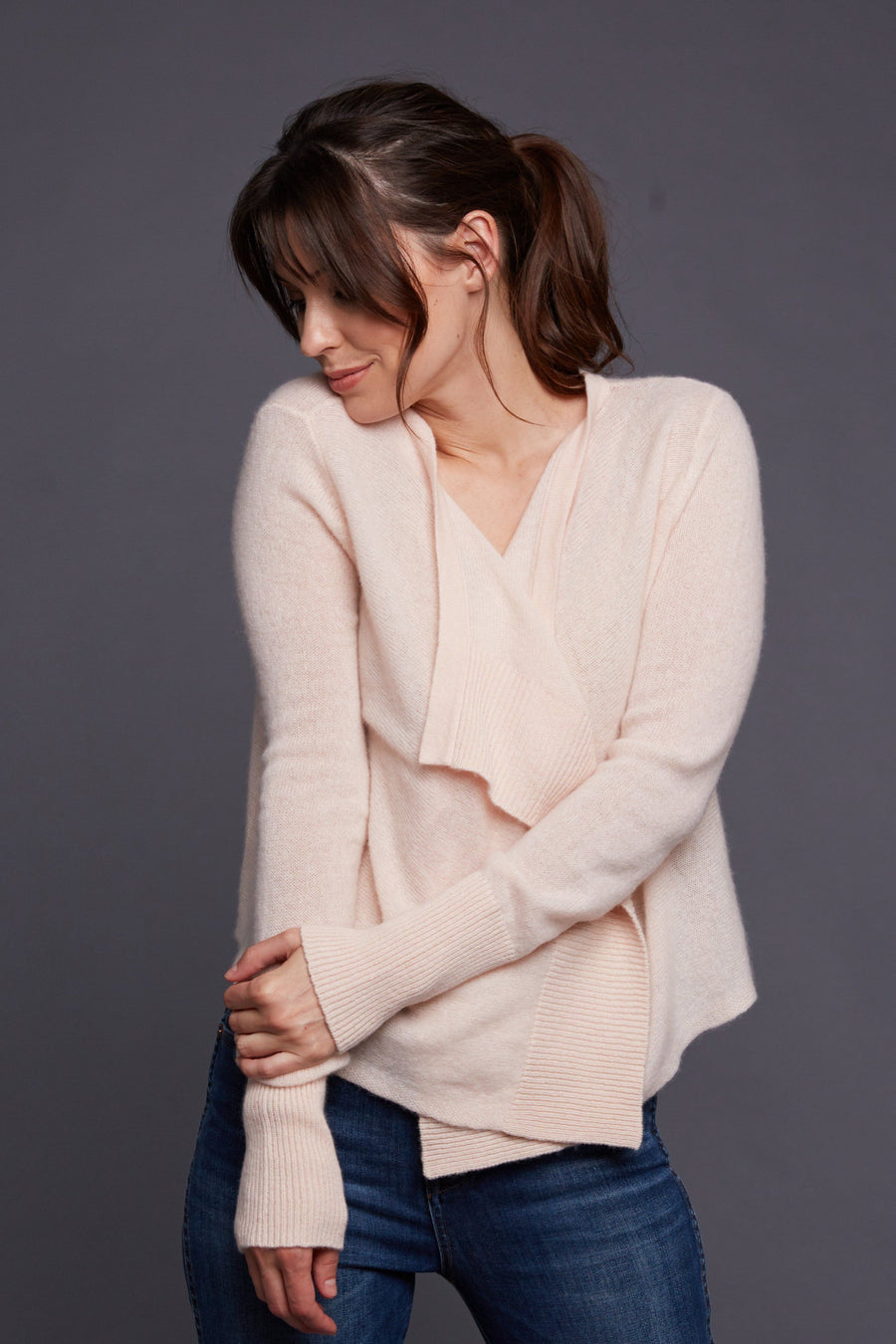 pine cashmere cami women's 100% pure cashmere open draped cardigan in light pink