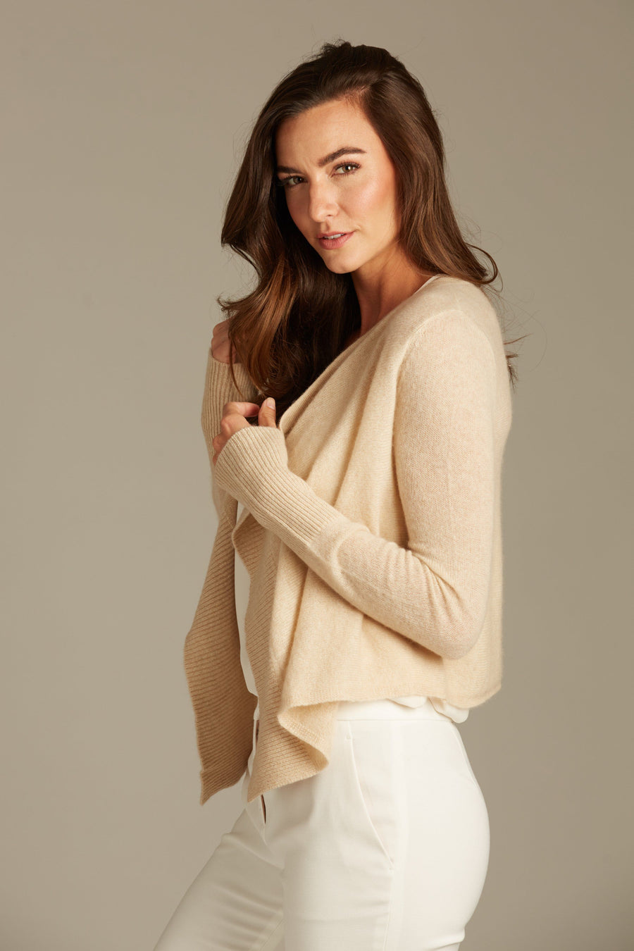 pine cashmere cami women's 100% pure organic cashmere open draped cardigan in tan