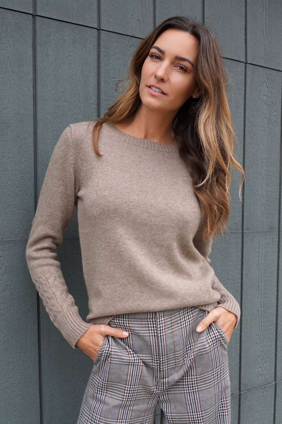 pine cashmere women's high quality 100% pure organic cashmere crewneck sweater kayden in brown