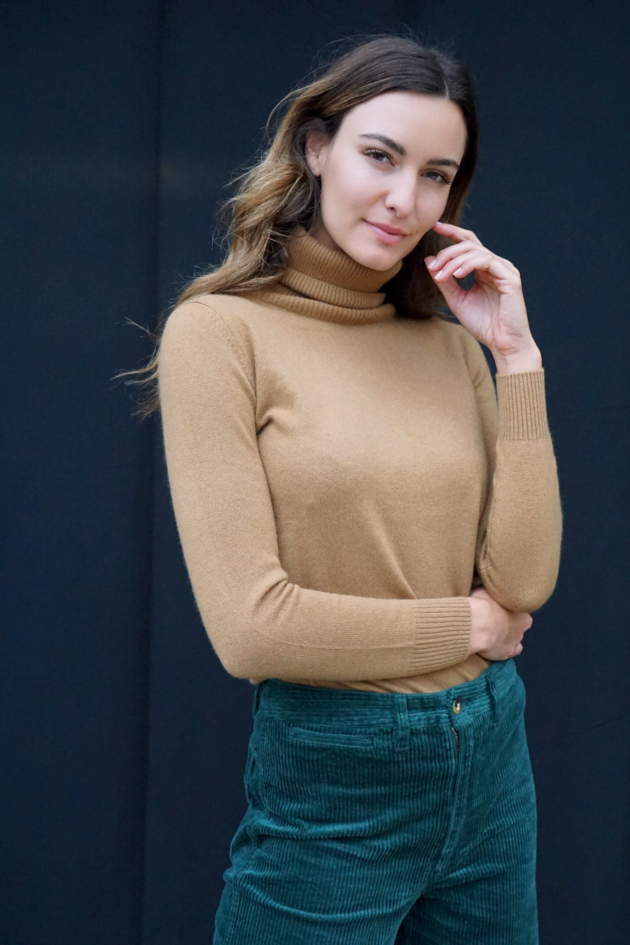 pine cashmere women 100% cashmere turtleneck camel color