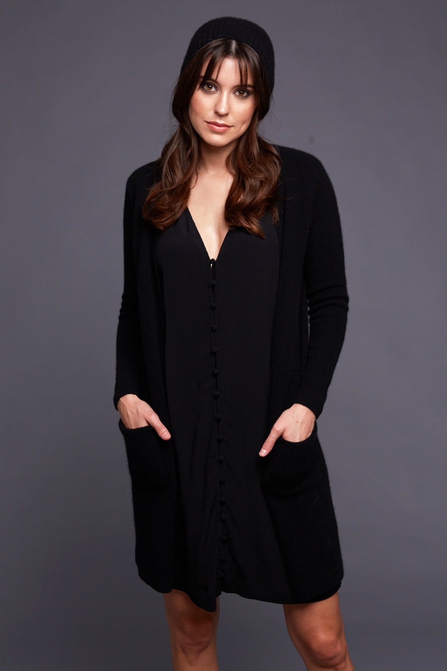 pine cashmere morgan women's 100% pure cashmere cardigan sweater in black
