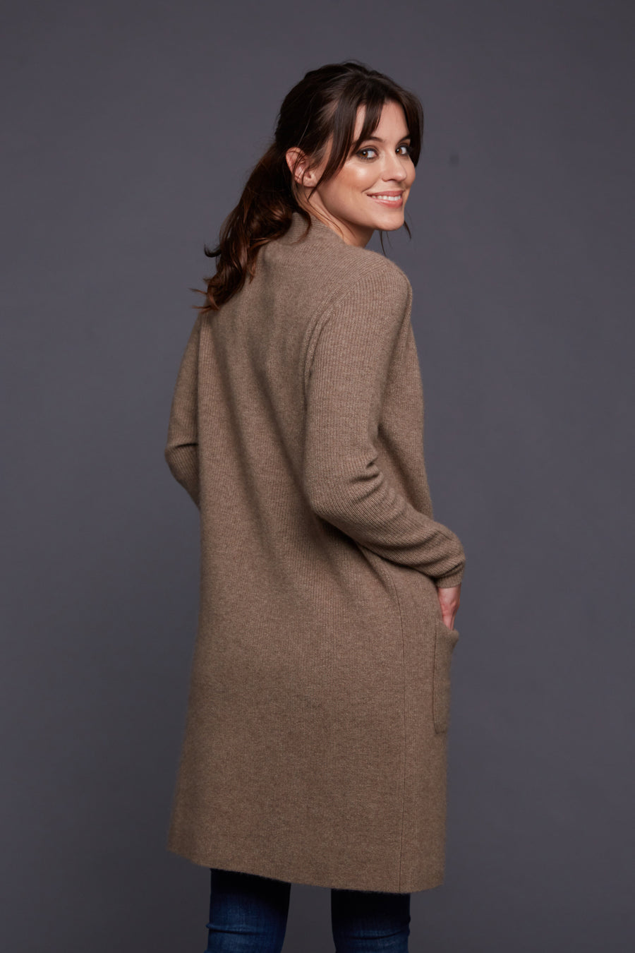 pine cashmere morgan women's 100% pure organic cashmere cardigan sweater in brown