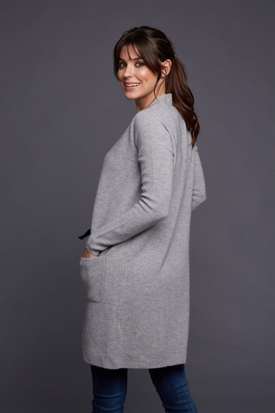 pine cashmere morgan women's 100% pure cashmere cardigan sweater in grey
