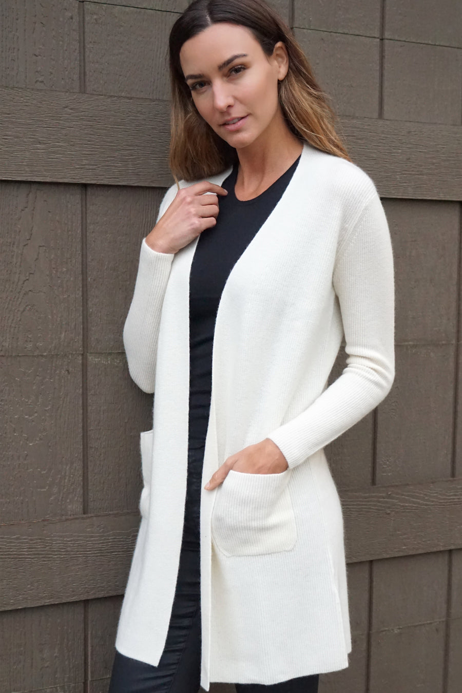 pine cashmere morgan women's 100% pure organic cashmere cardigan sweater in white