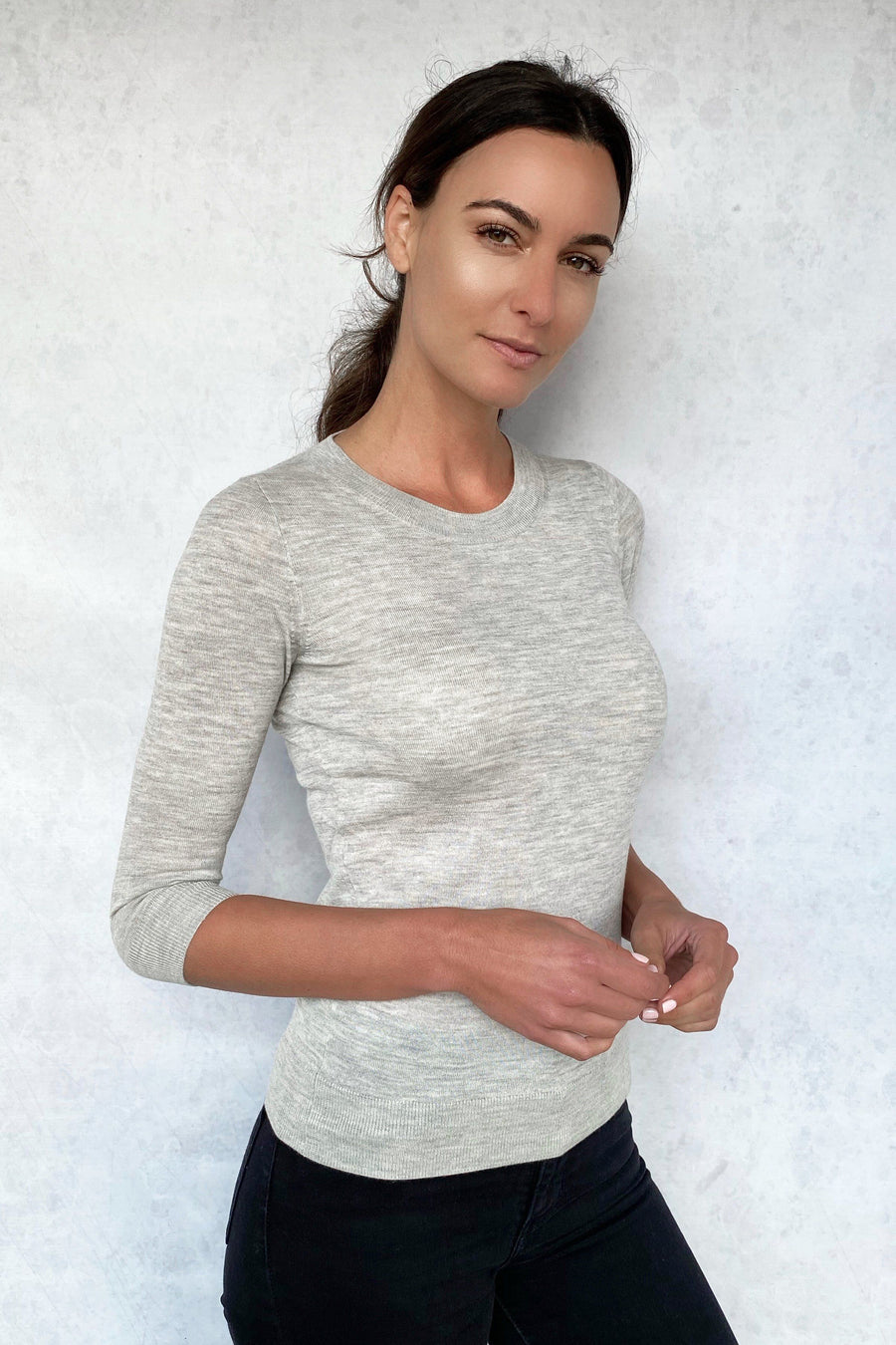 Olivia Cashmere 3/4 Sleeve Top - Grey