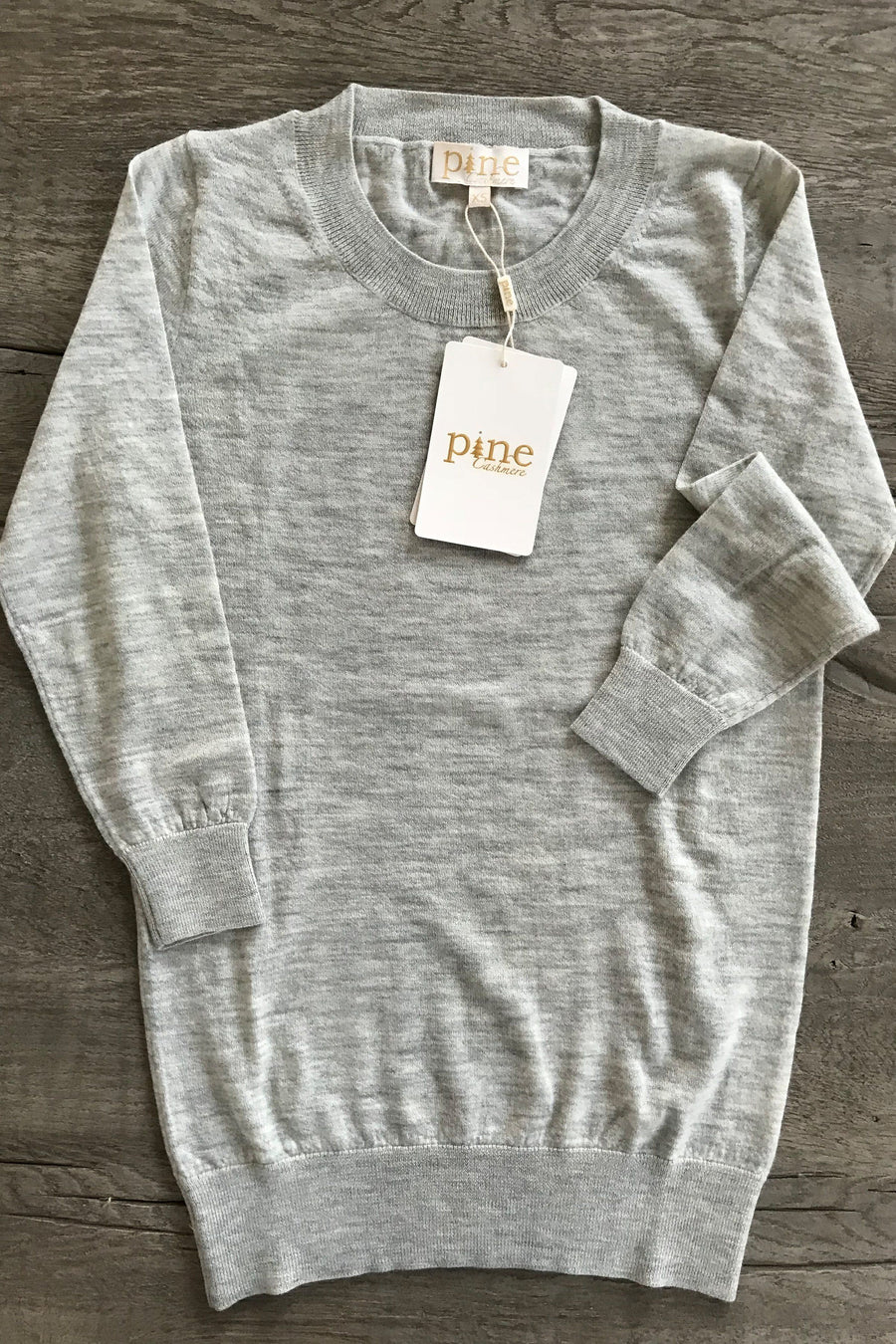 pine cashmere luxury women's crewneck lightweight 100% pure cashmere 3/4 sleeve top in grey