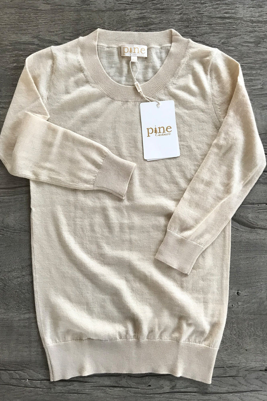 pine cashmere women's crewneck lightweight 100% pure organic cashmere 3/4 sleeve top in tan