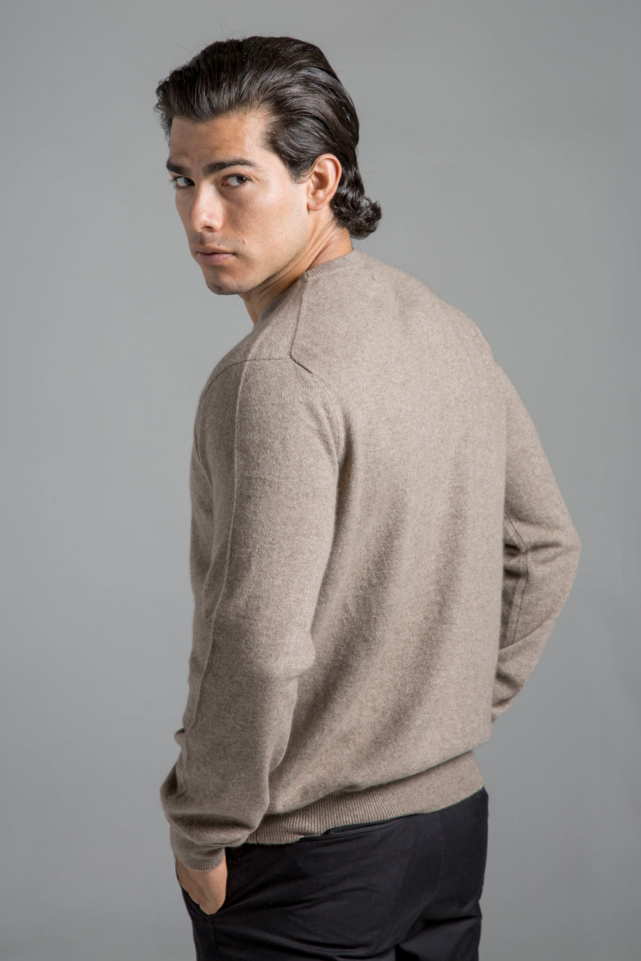 pine cashmere mens classic 100% pure organic cashmere crewneck sweater in brown