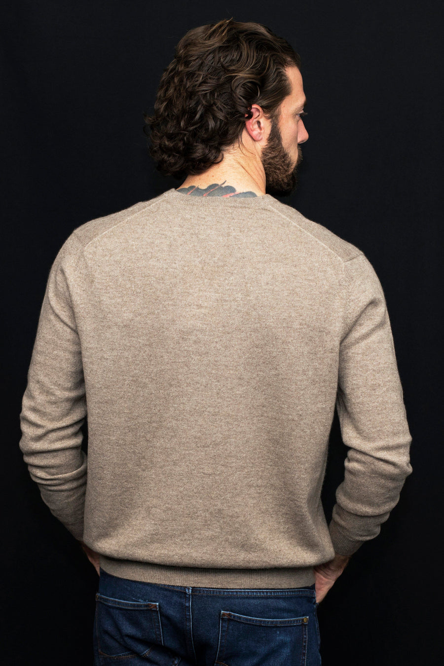Mens Cashmere V-Neck Sweater - Brown