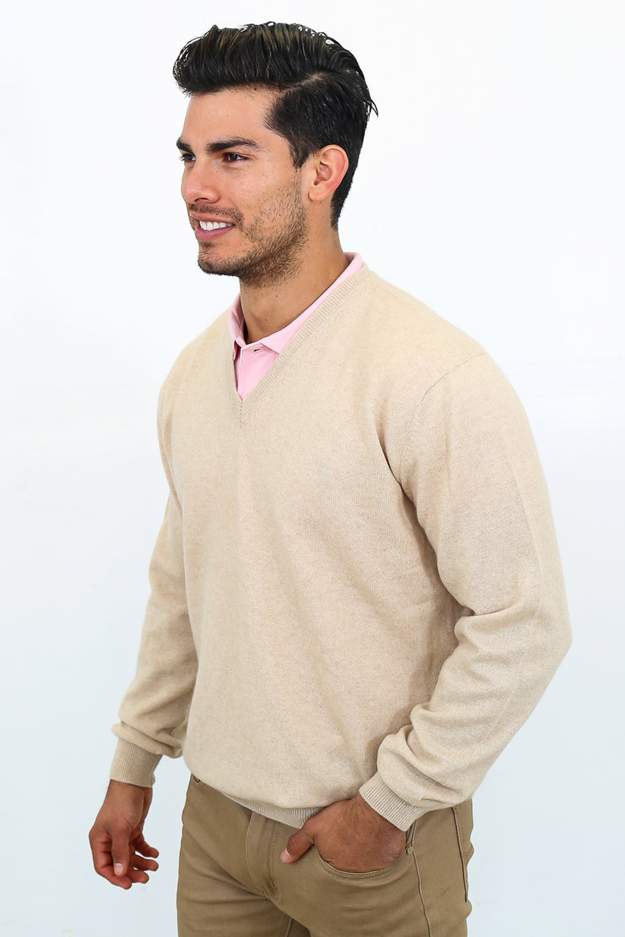 pine cashmere mens classic 100% pure organic cashmere v neck sweater in tan