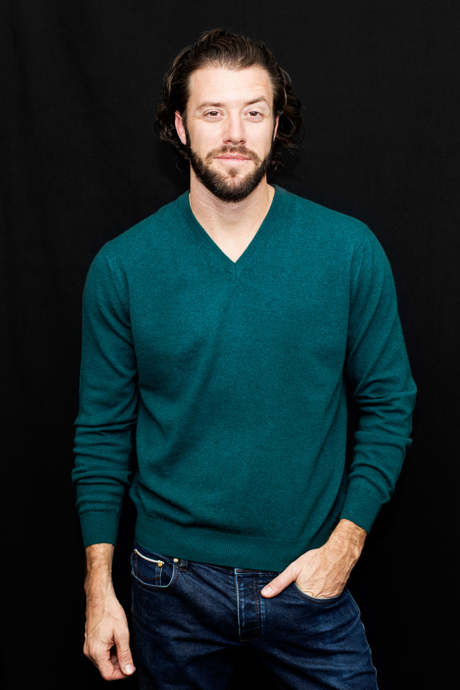 Mens Cashmere V-Neck Sweater - Teal