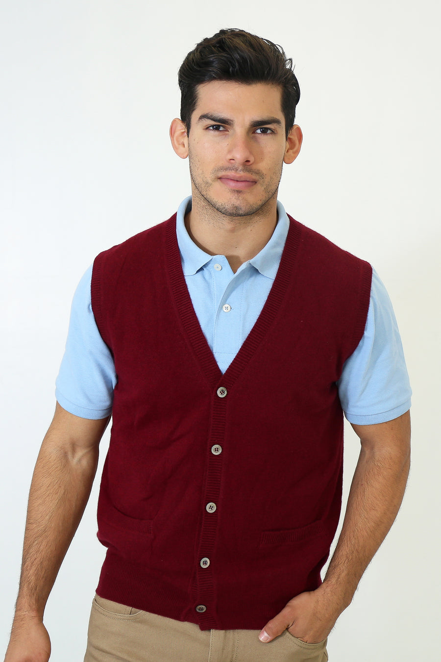 pine cashmere mens classic 100% pure cashmere v neck cardigan vest in dark burgundy red