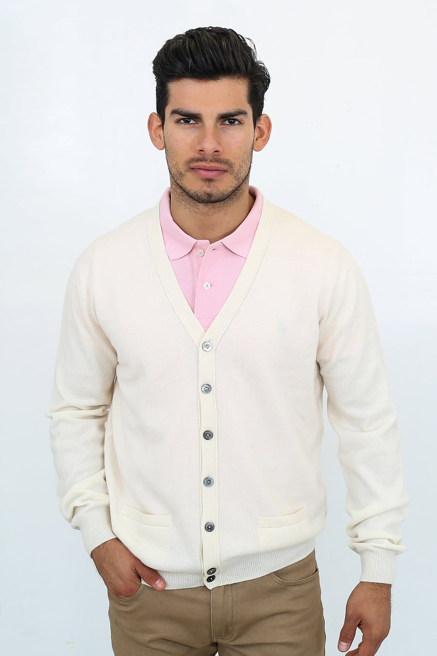 pine cashmere mens 100% pure organic cashmere v neck cardigan in white