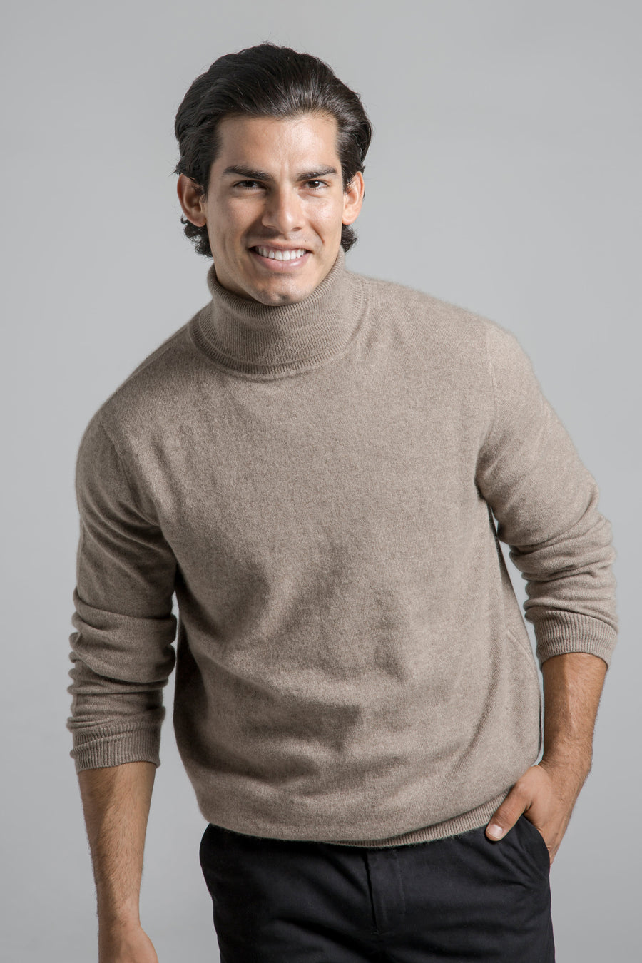 pine cashmere mens classic 100% pure organic cashmere turtleneck sweater in brown