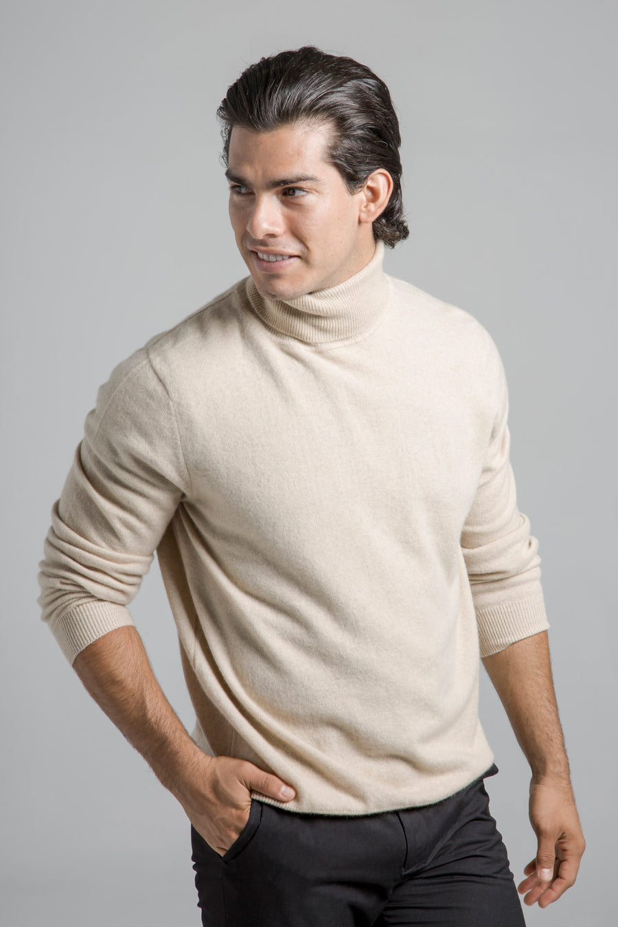 pine cashmere mens classic 100% pure organic cashmere turtleneck sweater in tan