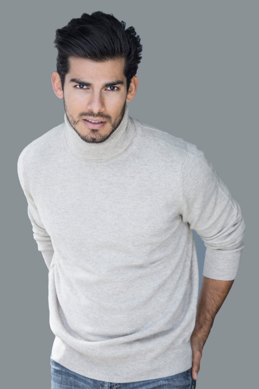 pine cashmere mens classic 100% pure organic cashmere turtleneck sweater in beige