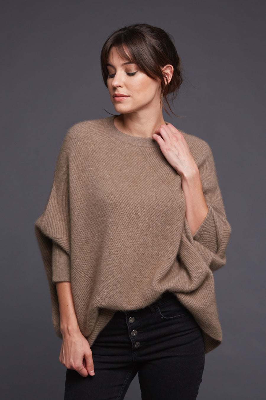 pine cashmere women's cara crewneck 100% pure organic cashmere poncho sweater in brown