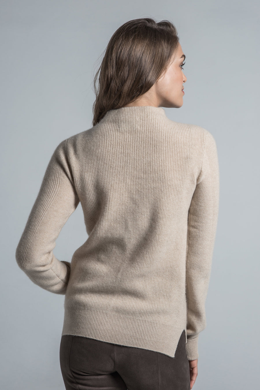 pine cashmere women's leah high mock neck 100% pure organic cashmere sweater in tan