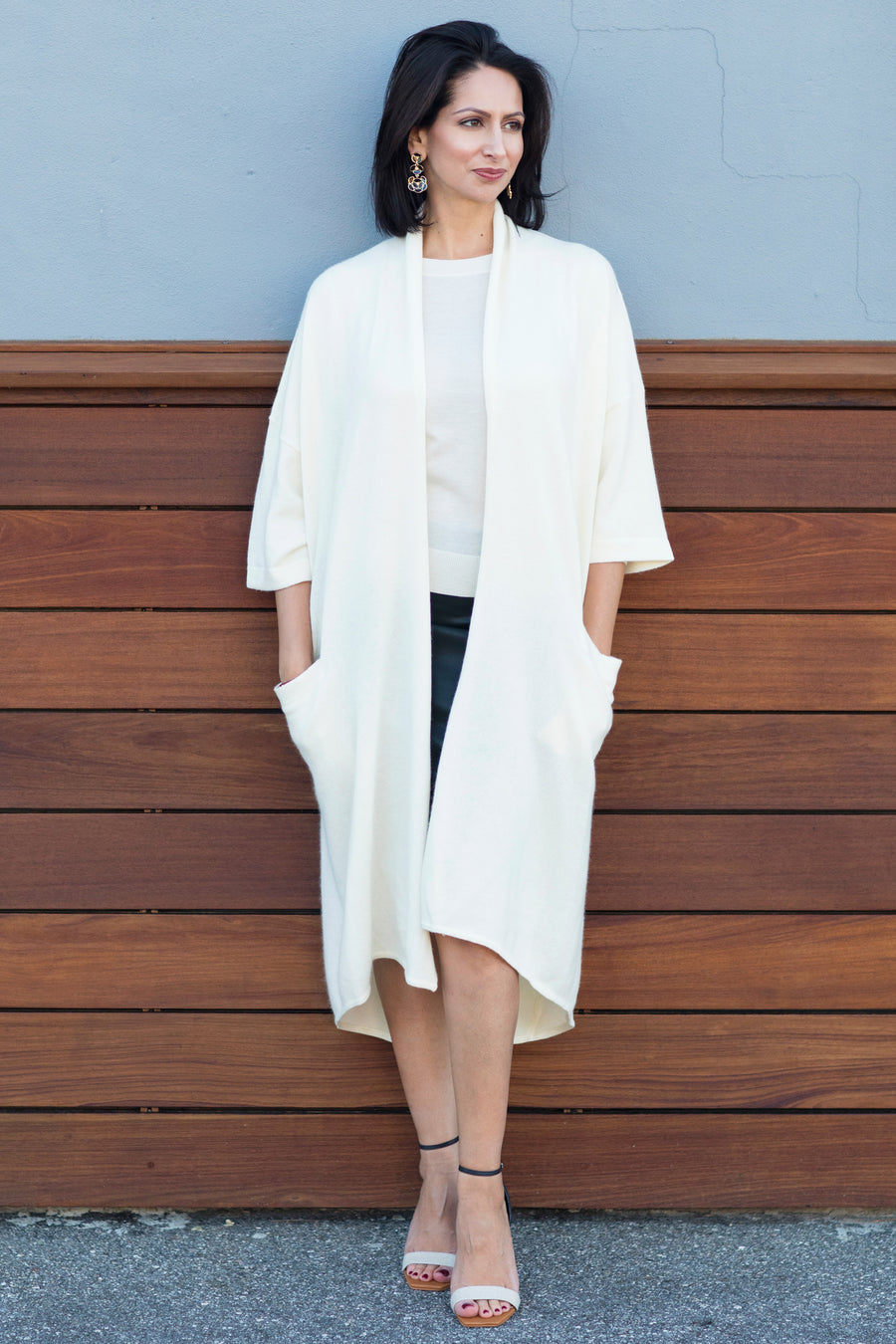 pine cashmere celine women's loose fit 100% pure organic cashmere cardigan coat in white