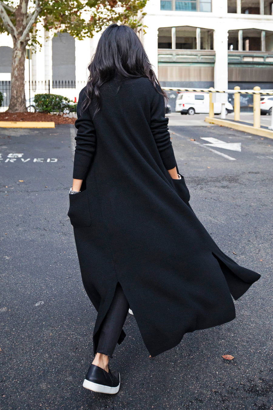 pine cashmere chelsea women's 100% pure cashmere long cardigan coat duster in black