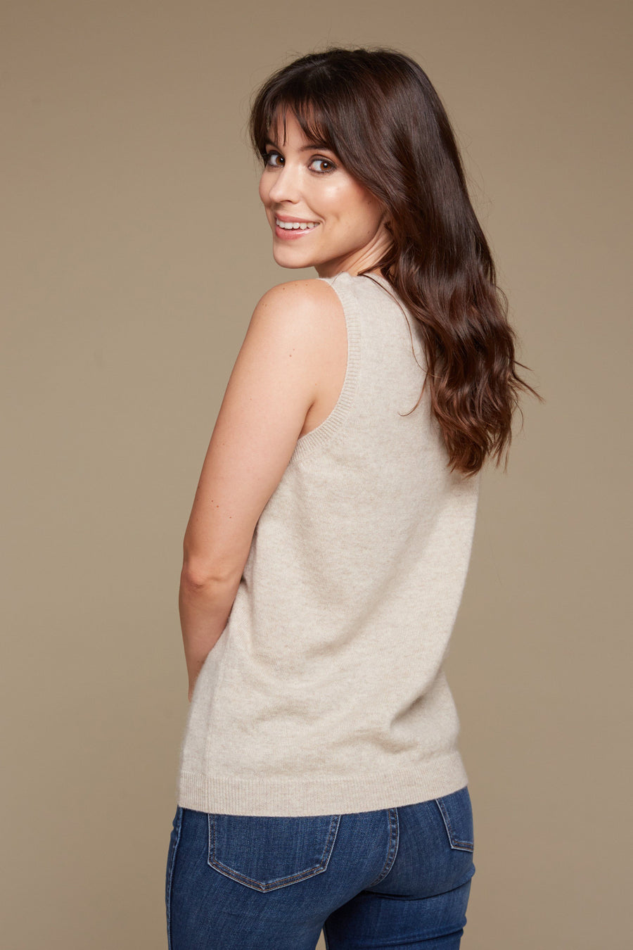pine cashmere luxury women's classic sleeveless 100% pure organic cashmere shell top in beige