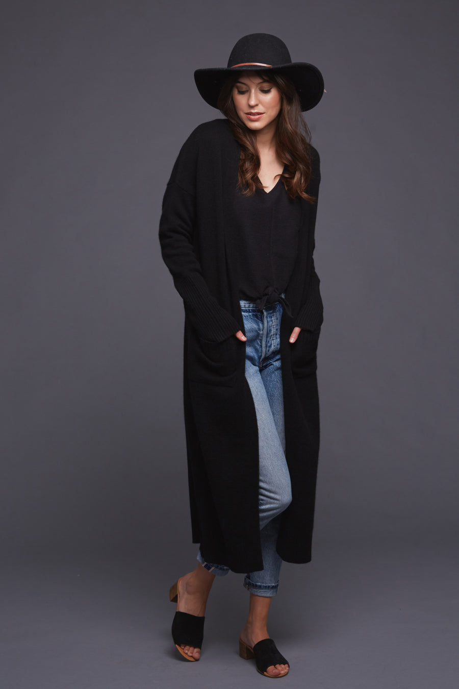 pine cashmere stella women's cashmere wool blend long cardigan coat duster in black