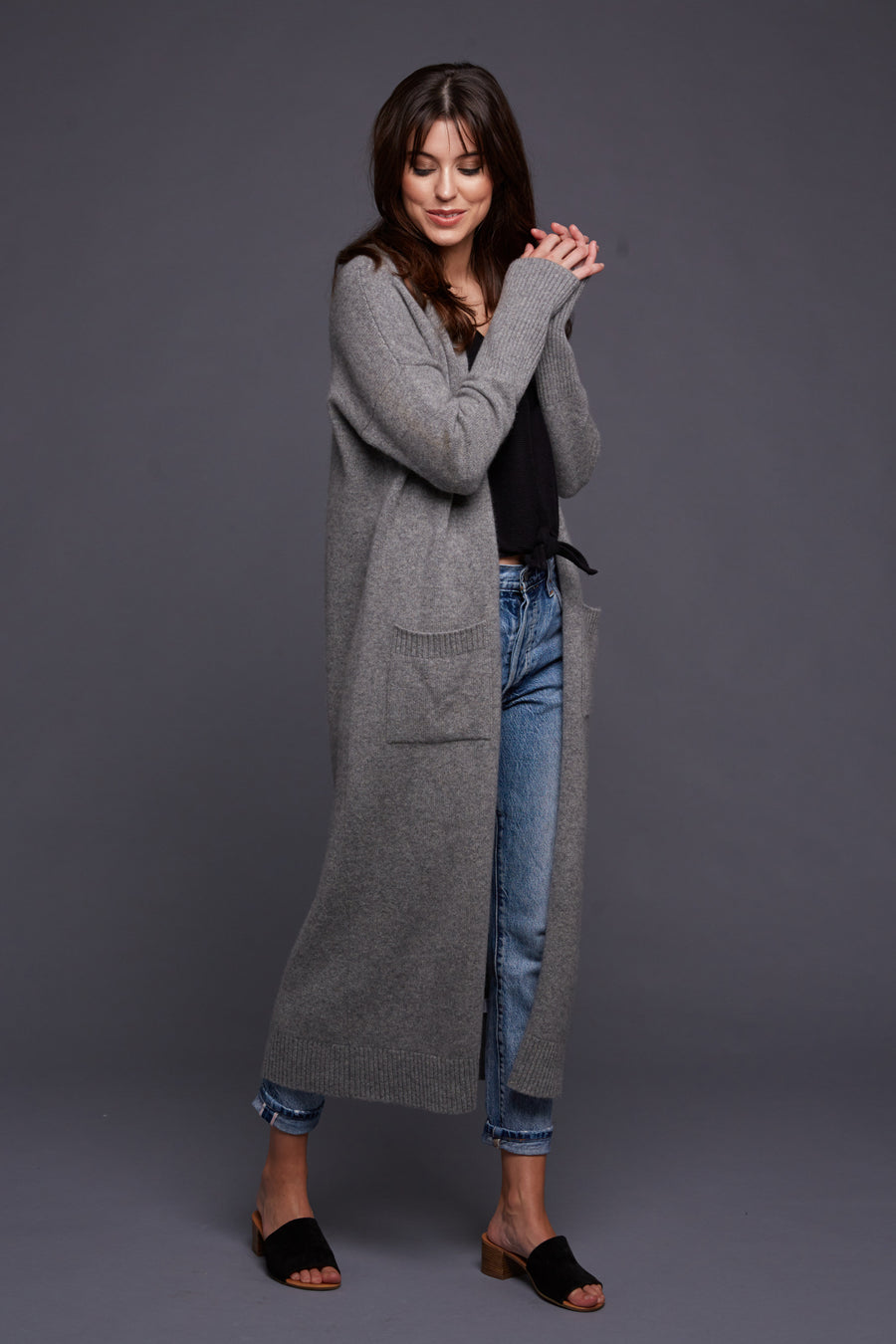 pine cashmere stella women's cashmere wool blend long cardigan coat duster in medium grey
