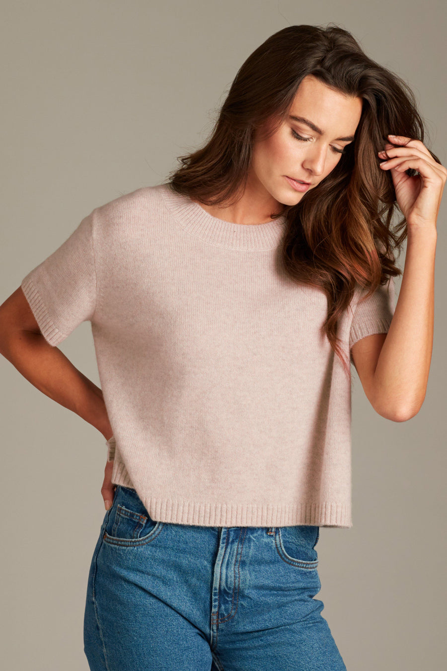 Sadie Cashmere Cropped Top - Dusty Pink