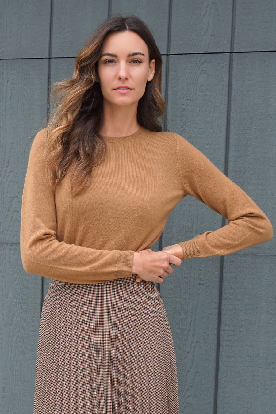 pine cashmere sydney women's 100% pure cashmere classic crewneck sweater in camel