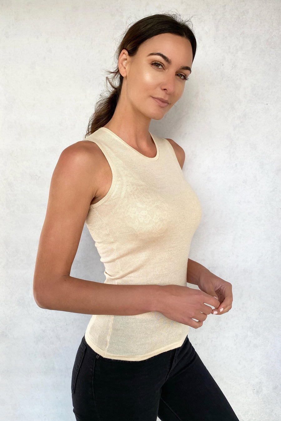 Taylor Ultra-Thin High Crewneck Cashmere Top - Tan