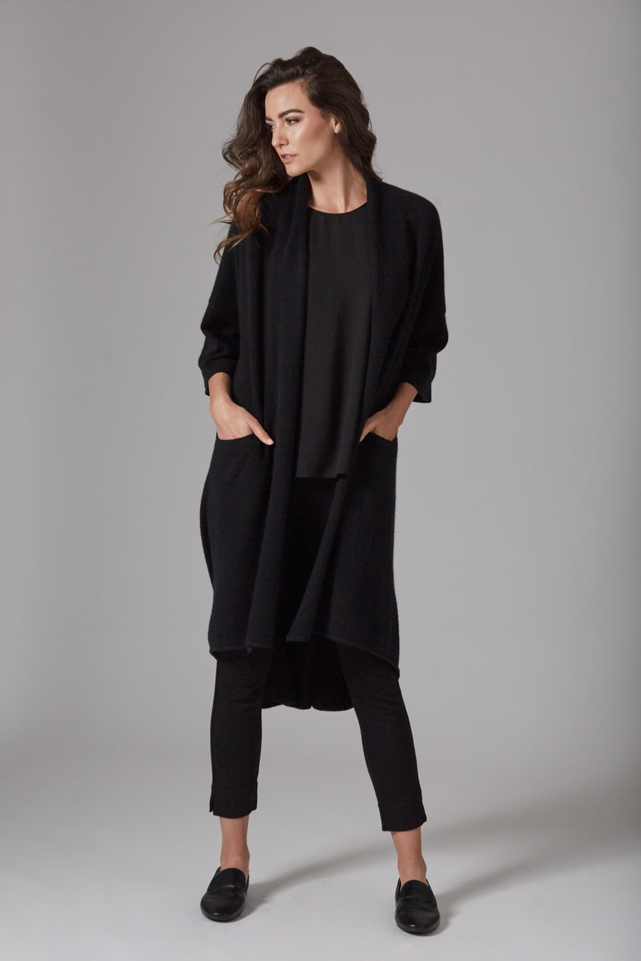 pine cashmere celine women's loose fit 100% pure cashmere cardigan coat in black