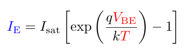 simplified Ebers-Moll equation for transistor current