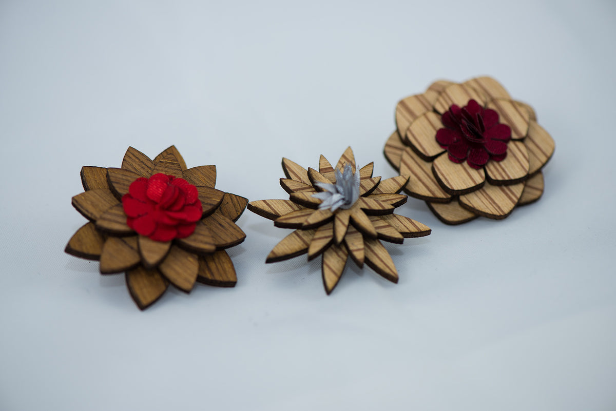 Wooden Lapel Flower Pins