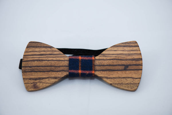 Zebra Wood BowTie - 4 Cloth Options - Daino Wood