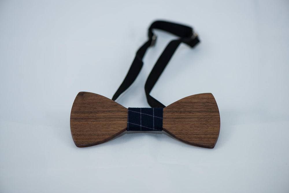 Ebony Wood BowTie - 5 Cloth Options - Daino Wood