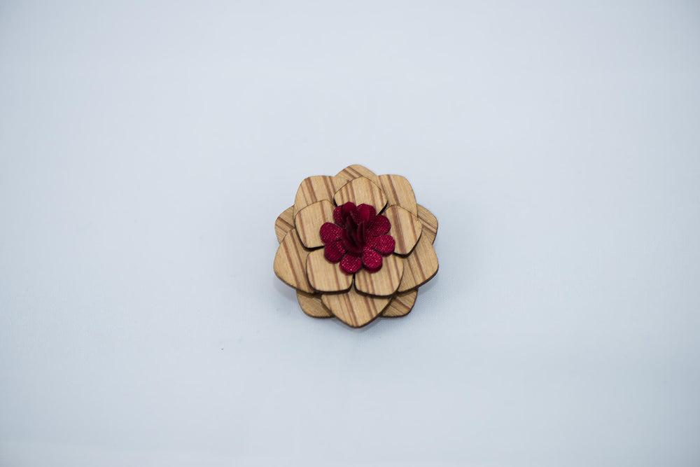 Zebra Wood - Rosewood Red Lapel Pin - Daino Wood
