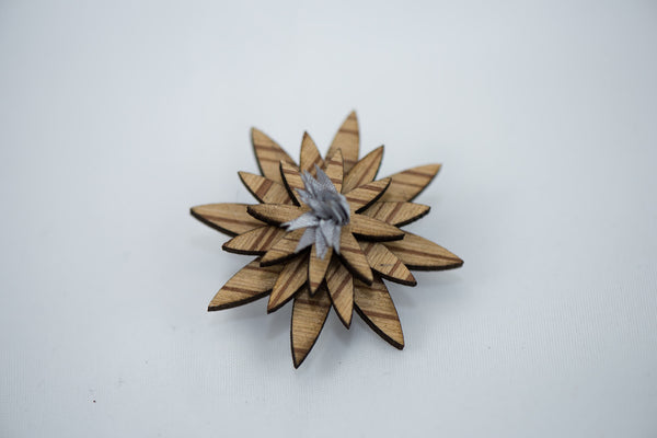 Zebra Wood - Silver Lapel Pin - Daino Wood