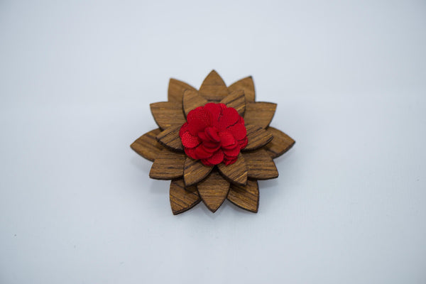 Zebra Wood - Red Lapel Pin - Daino Wood