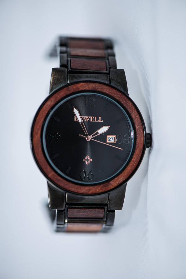 Black Metal & Red SandalWood Watch - Best Selling Model - Daino Wood