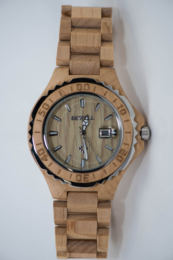 Maple Wood Watch - Gear Bezel - Daino Wood